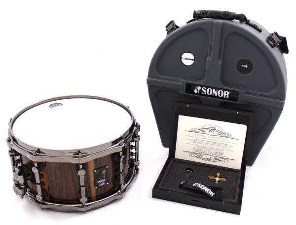 """Sonor One of a kind 14""""x7"""" Snaredrum in Black Chacate"""